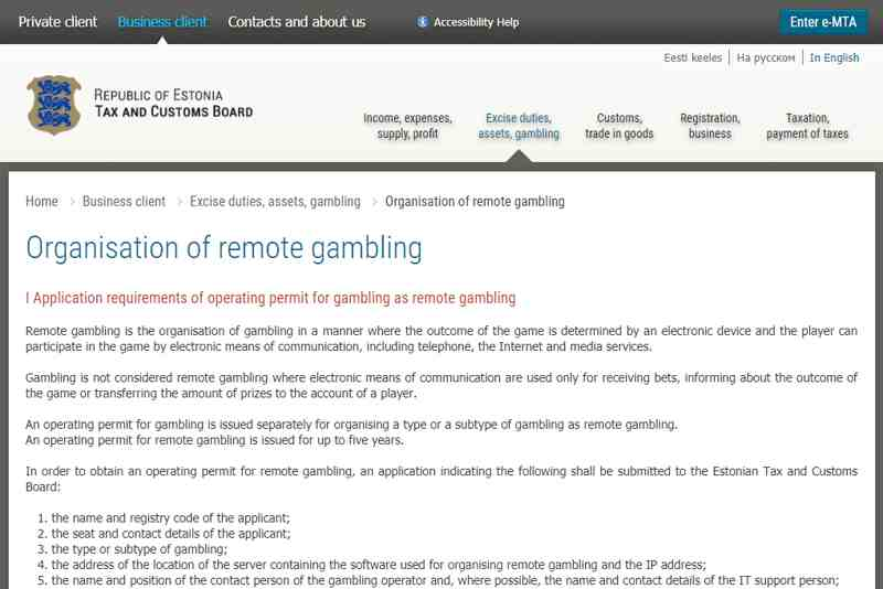Gambling permit application requirements in Estonia
