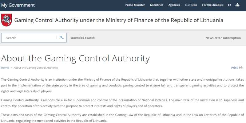 Gaming Control Authority in Lithuania
